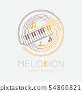 Melodion, music note with line staff circle shape 54866821