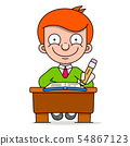 Cute Boy Sitting At His Desk And Learning School 54867123