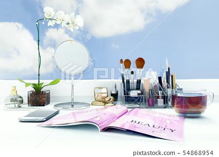 Cosmetic, set, on, window, sill 54868954
