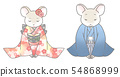 Rat couple in Japanese clothes greeting 54868999
