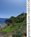 오키나와 이시가키 섬의 케이프 칸자키 (칸자키) 칸자키 등대 이리 오모테 섬을 바라 볼 망토 54869558