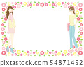 Frame material of woman and flower 54871452