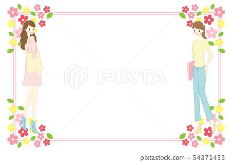 框架材料的女人和花 54871453