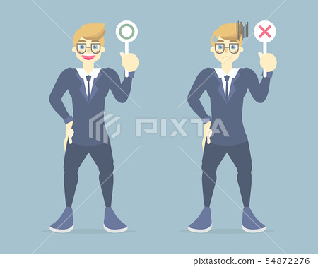 businessman holding right, wrong sign symbol 54872276