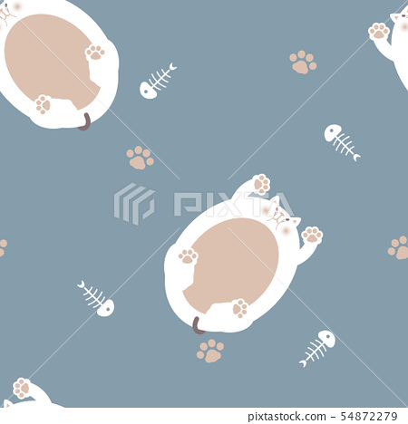 seamless cat repeat pattern in blue background 54872279