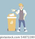 man throwing trash in recycle bin 54872280