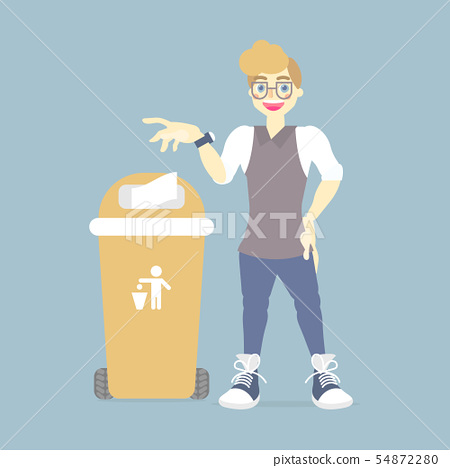 man throwing trash in recycle bin 54872280