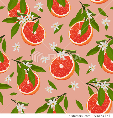 Orange fruits slice seamless pattern with flowers 54873171
