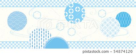 하늘색의 일본식 디자인 54874120