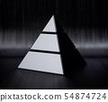 Golden chrome pyramid isolated 54874724