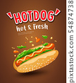 Vector Hot dog, hot and fresh poster design  54874738