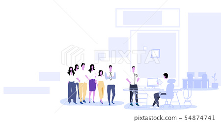 businesspeople group standing in line queue to hr manager holding cv resume interviewing candidate 54874741