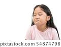 Kid Asian girl face expression envy, jealous 54874798