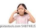 Asian little girl suffering from headache 54874815