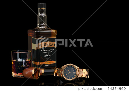 Whiskey bottle with smoking pipe and wrist watch 54874960