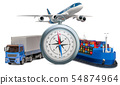 Global delivery concept. Compass with truck 54874964
