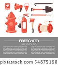 Red firefighter uniform and protection equipment set and instruments. Vector illustration for 54875198