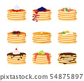 Cartoon Color Pancakes with Different Toppings Set. Vector 54875897