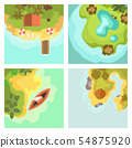 Cartoon tropical exotic island in ocean top view exotic lagoon map caribbean aerial sprite seascape 54875920