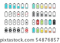 Battery icons. Phone charge level, UI design elements of battery percentage, full low and empty 54876857