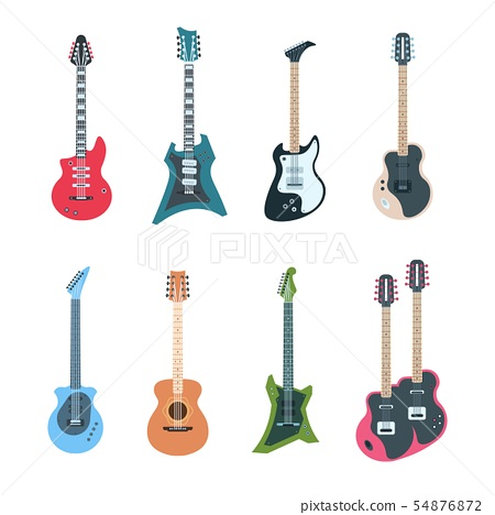 Guitar set. Flat electric and acoustic string music instruments of different types. Vector guitars 54876872