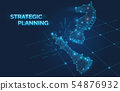 Strategic planning banner with chess pieces, knights move beat a competitor, victory checkmate 54876932