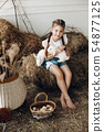 Lovely little girl with braids holding two 54877125
