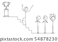 Vector Cartoon of Businessman Climbing Up the Stairs to for the Winner's Trophy, Business Team is 54878230