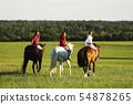 Teenage girls on horse walking on meadow in 54878265