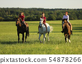 Teenage girls on horse walking on meadow in 54878266