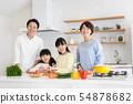 Parent and child cooking dinner family image 54878682