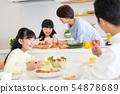 父母和孩子烹飪晚餐家庭形象 54878689
