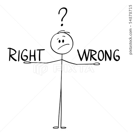Vector Cartoon of Man or Businessman Deciding and Balancing Between Right and Wrong. 54878715