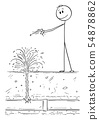 Vector Cartoon of Dowser or Diviner Searching for Water in Ground, but found broken pipe instead 54878862