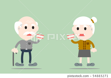 senior man and senior woman are holding denture 54883271