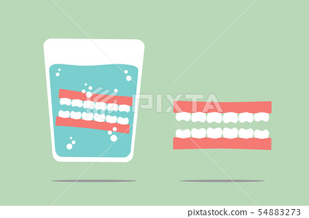 denture in glass 54883273