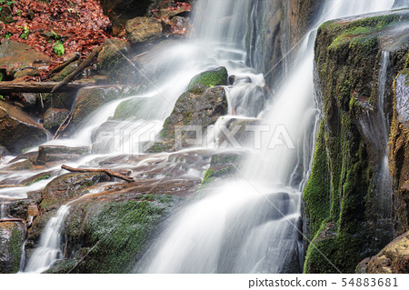 close up details of waterfall stream 54883681