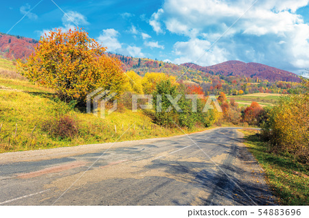 old cracked country road in autumn 54883696