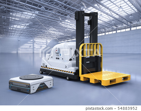 automatic forklift with warehouse robot 54883952