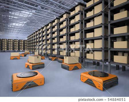 warehouse robot working 54884051