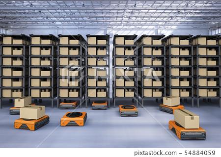 warehouse robot working 54884059