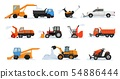 Snow removal vector winter vehicle excavator bulldozer cleaning removing snow illustration snowy set 54886444
