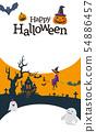 halloween jack-o-lantern witch 54886457