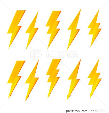 Lightning bolt, thunder flash and electric voltage 54889688