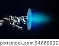 Black robotic hand cracking fingerprint password in virtual space. 54889932