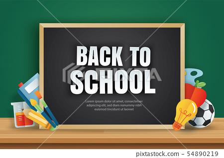 Back to school banner with education items  54890219