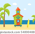 Wooden Bungalow on Tropical Coast, Sea Beach Beautiful Landscape, Seaside Holiday Banner Template 54890488