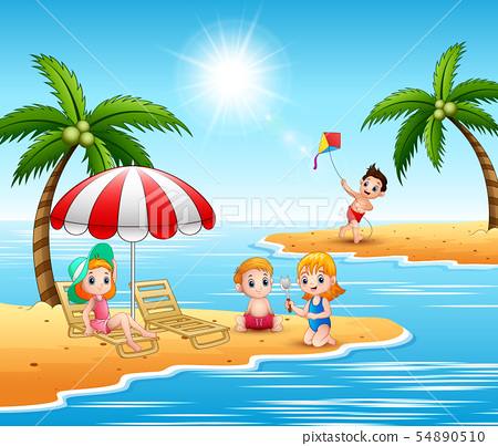 Summer holiday children in the beach 54890510