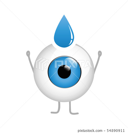 happy eye cartoon with eye drop isolated on white background 54890911