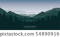 green foggy mountain and forest nature landscape 54890916